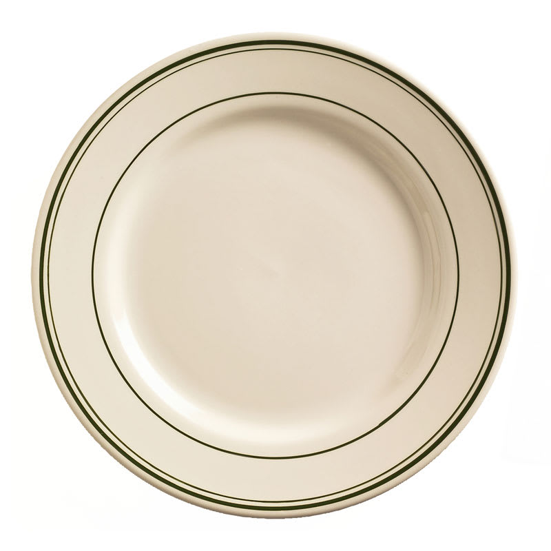 """World Tableware VIC-30 11"""" Viceroy Plate - Plain, (3) Green Bands"""