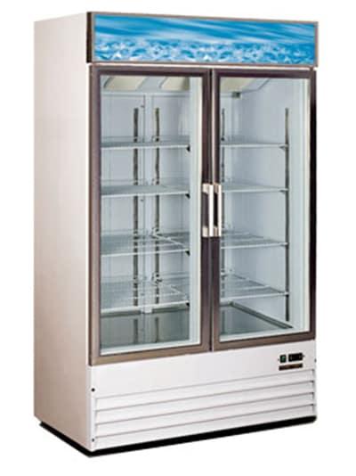 """Metalfrio D768BM2F 49.3"""" Two-Section Display Freezer w/ Swinging Door - Bottom Mount Compressor, 115v"""