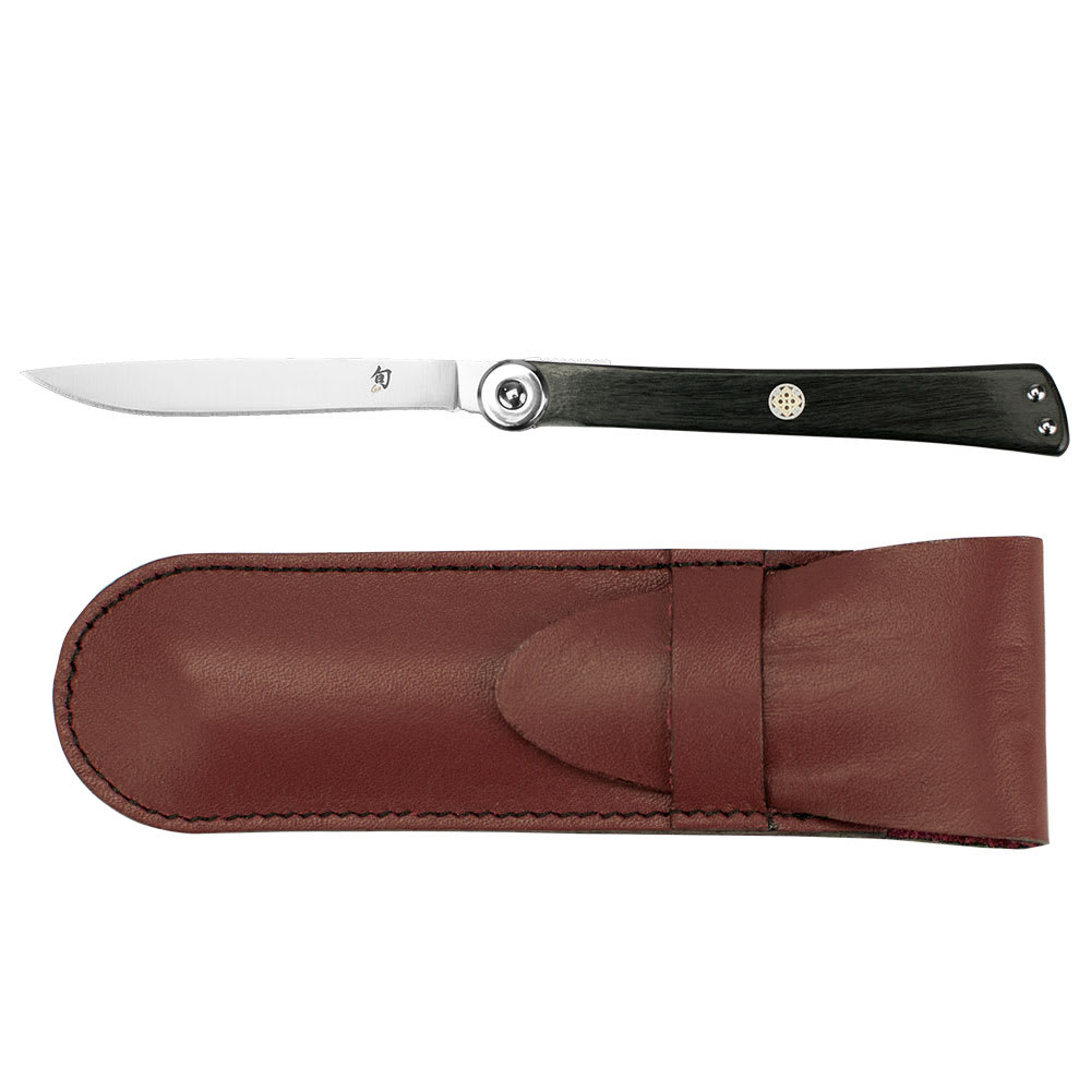 "Shun DM5900 6"" Higo-No kami Folding Steak Knife w/ Leather Sheath, 3.5"" Blade, VG-10, Stainless Steel"