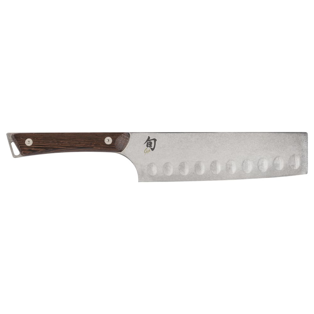 "Shun SWT0728 7"" Hollow-Ground Nakiri Knife w/ Tagayasan Wood Handle, Stainless Steel Blade"