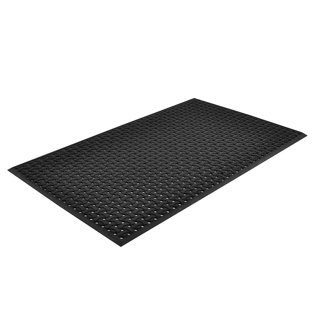"Notrax T18U0035BL Superflow Reversible Grease Resistant Floor Mat, 3 x 5 ft, 5/8"" Thick, Black"