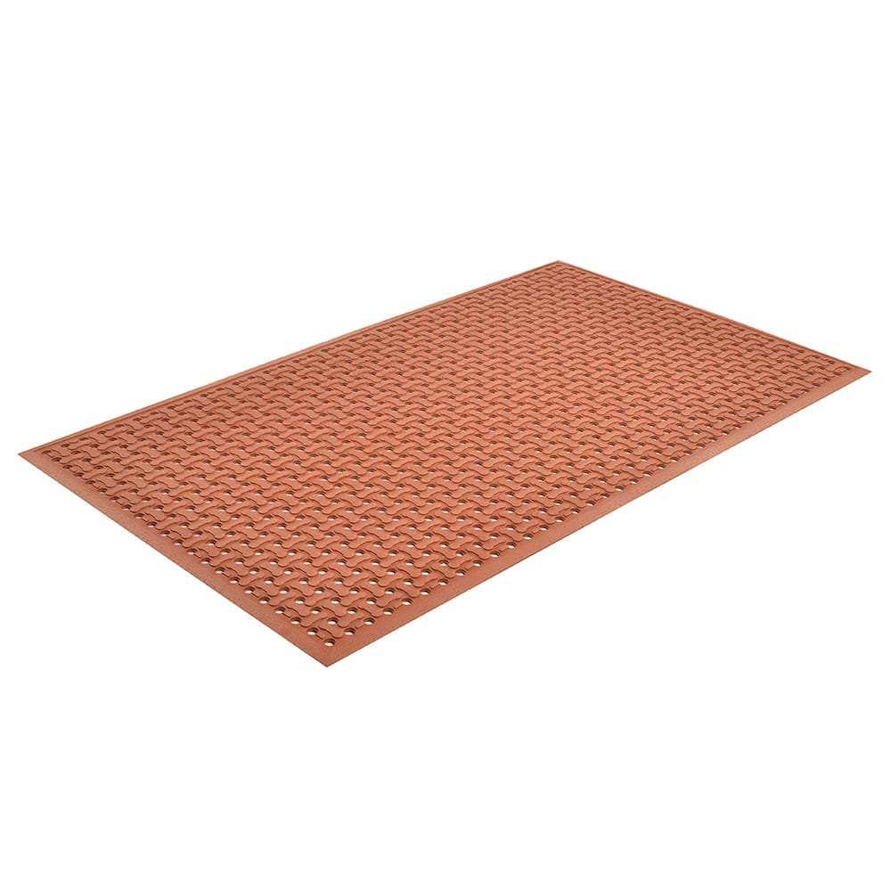"Notrax T18U0035RD Superflow Reversible Grease Proof Floor Mat, 3 x 5 ft, 5/8"" Thick, Red"