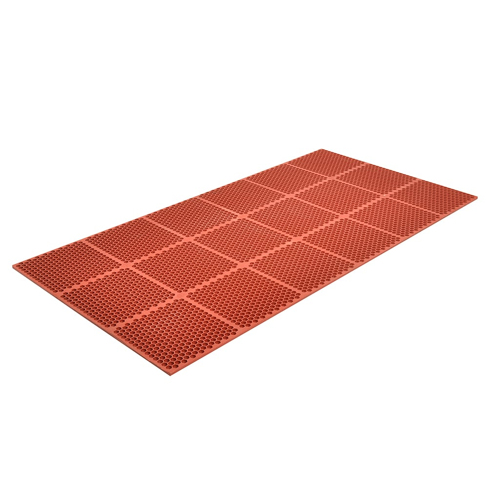 """Notrax T15U0032RD Optimat Grease-Proof Floor Mat, 36 x 24 in, 1/2"""" Thick, Red"""
