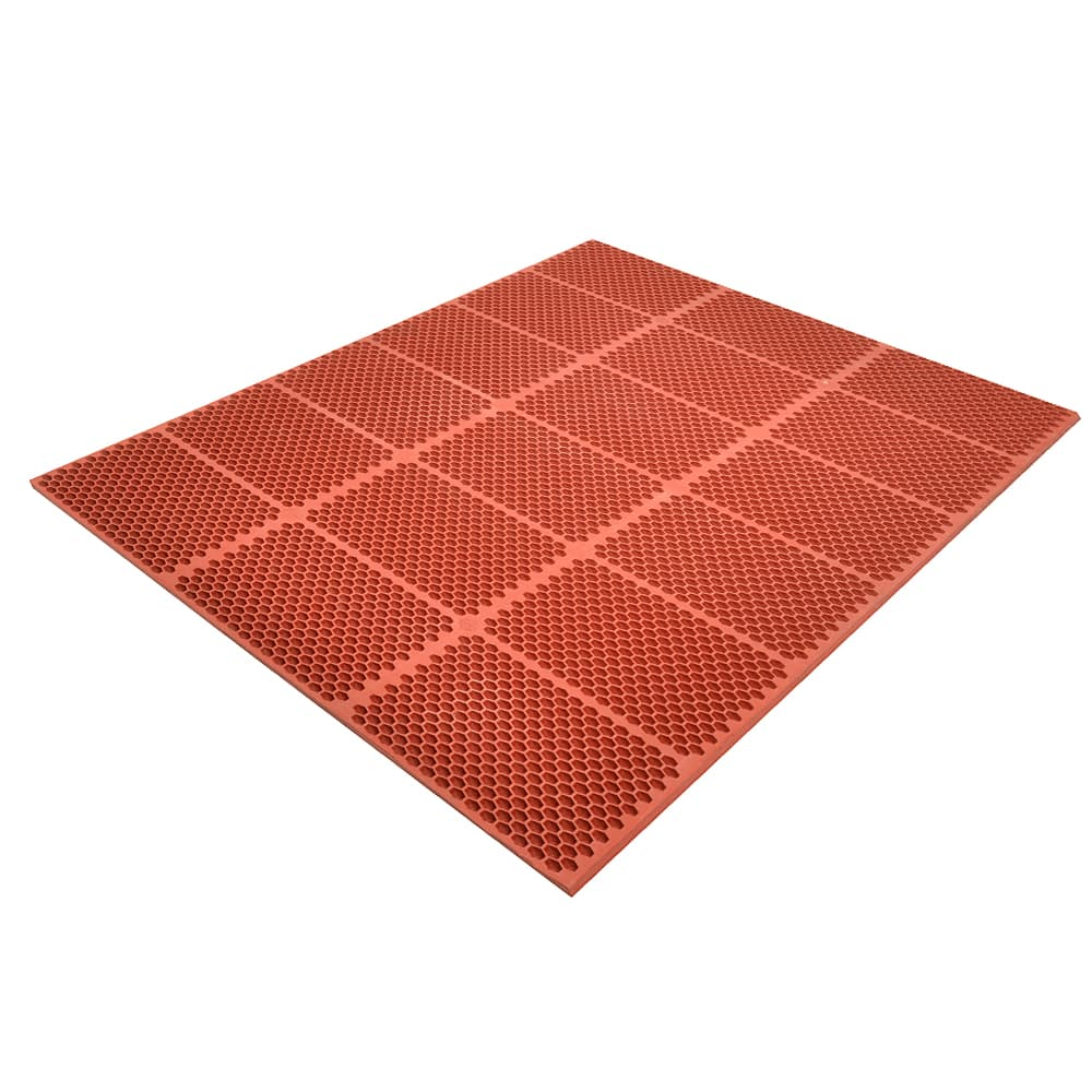 "Notrax T15U0033RD Optimat Grease-Proof Floor Mat, 36 x 36 in, 1/2"" Thick, Red"