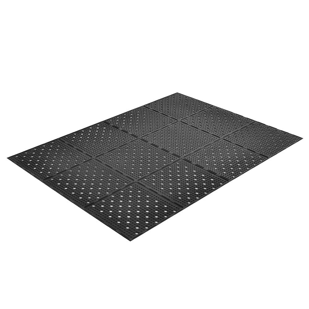 "Notrax T23U0038BL Mult-Mat II Reversible Drainage Floor Mat, 3 x 8 ft, 3/8"" Thick, Black"