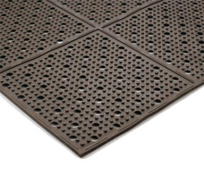 "Notrax T23U0034BR Mult-Mat II Reversible Drainage Floor Mat, 3 x 4 ft, 3/8"" Thick, Brown"