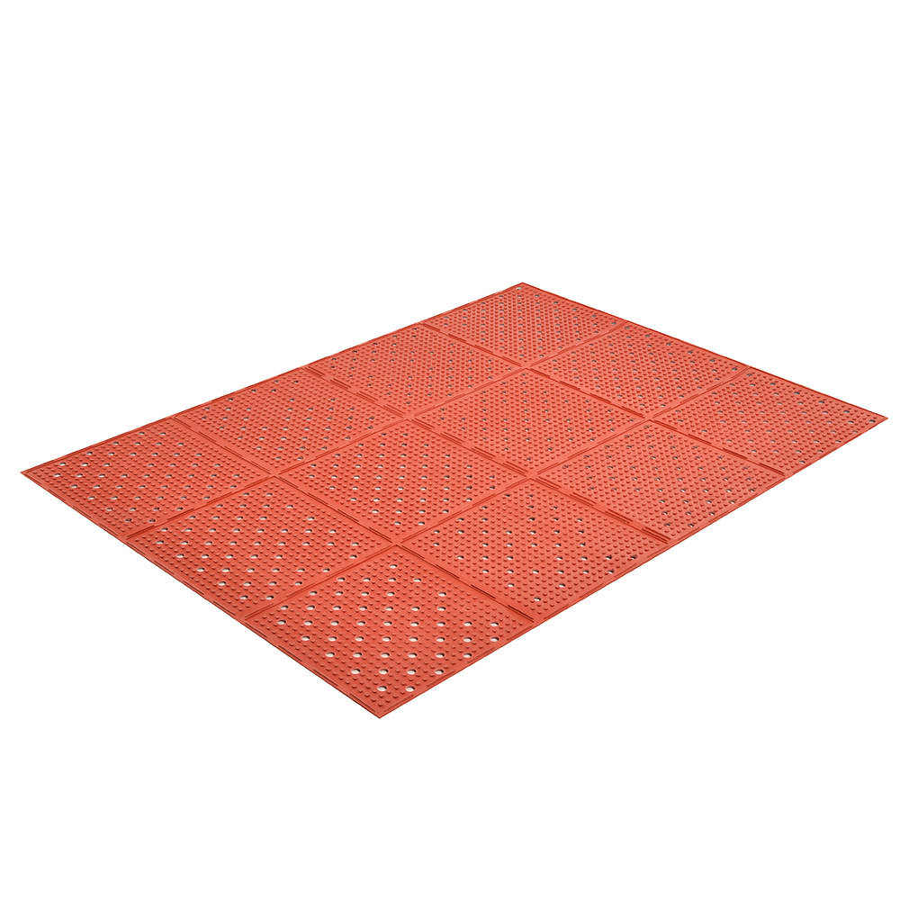 "Notrax T23U0038RD Mult-Mat II Reversible Oil Resistant Floor Mat, 3 x 8 ft, 3/8"" Thick, Red"