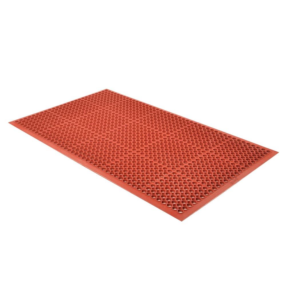"Notrax T14U0035RD Tek-Tough Jr Grease Resistant Floor Mat, 3 x 5 ft, 1/2"" Thick, Red"