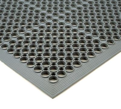 "Notrax T14S0315GY Tek-Tough Jr Grease Resistant Floor Mat, 3 ft x 14 ft 8 in, 1/2"" Thick, Gray"