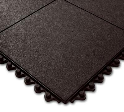 "Notrax T31U0033BL Click Mat Solid General Purpose Floor Mat, 3 x 3 ft, 3/4"" Thick, Black"