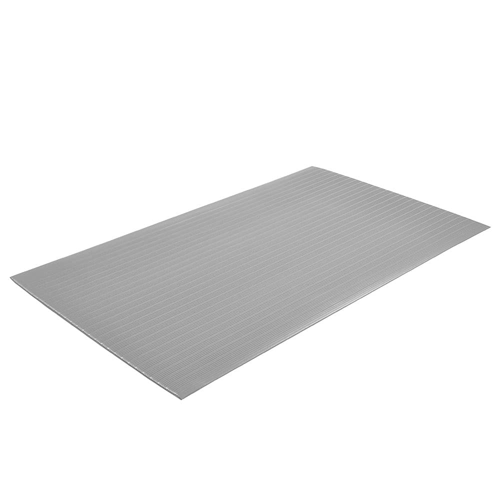 "Notrax T42S3310GY Comfort Rest Anti-Fatigue Floor Mat, 3 x 10 ft, 3/8"" Thick, Ribbed, Silver"