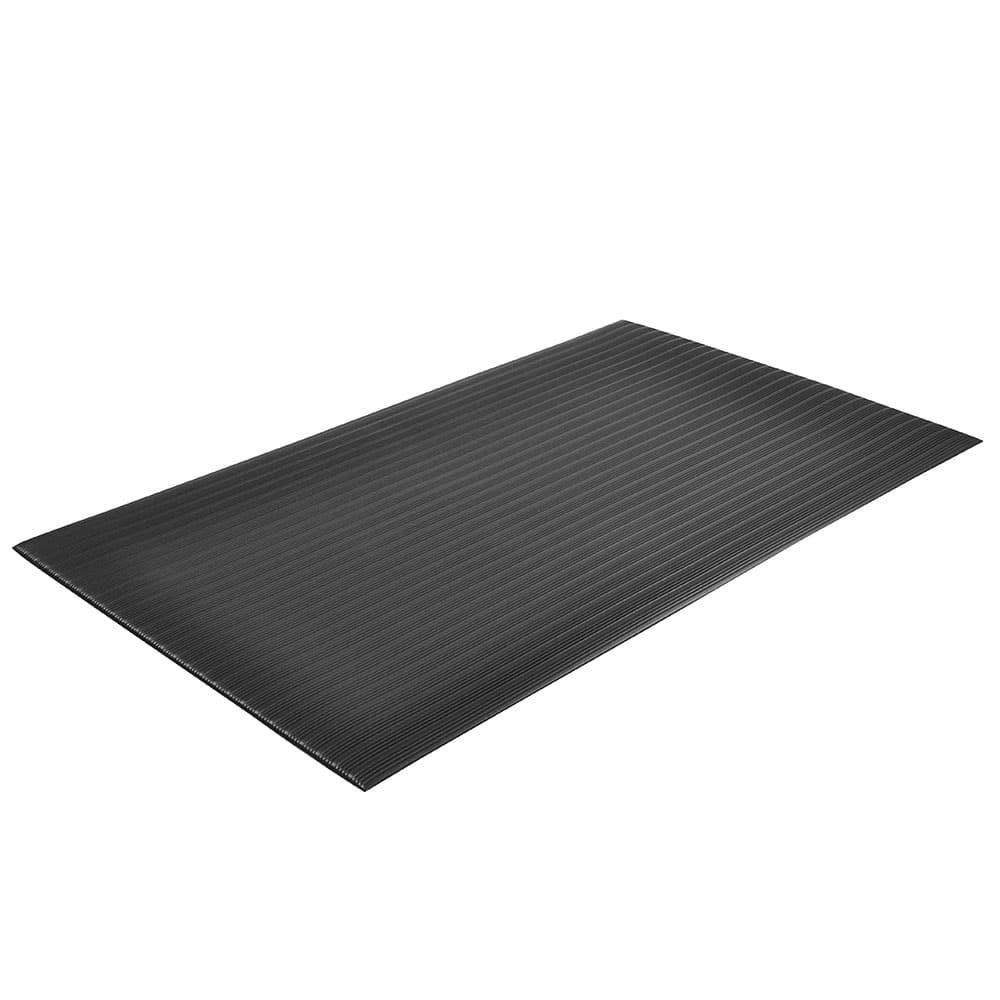 """Notrax T42R0548BL Anti-Fatigue Floor Mat, Ribbed Foam Vinyl, 4 ft x 60 ft x 5/8"""", Coal"""