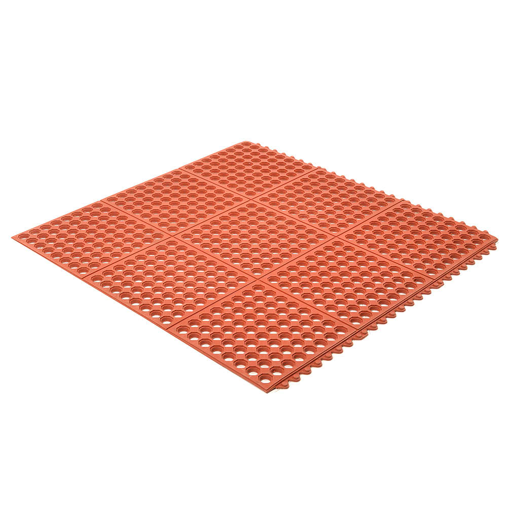 "Notrax T32U0033RD Ultra Mat Grease-Resistant Floor Mat, 3 x 3 ft, 1/2"" Thick, Red"