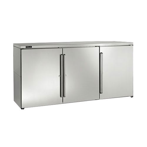 Perlick BBR72 3 Section Backbar Storage Cabinet w/ Interior Lights & Door Locks, 2 amps