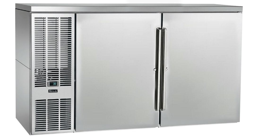 "Perlick PTS60 60"" (2) Section Bar Refrigerator - Swinging Solid Doors, 120v"