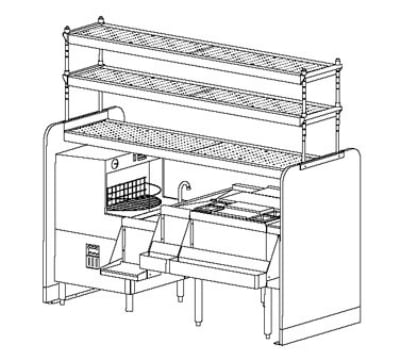 Perlick PTS78L-1 78-in Pass Thru Cocktail Station w/ Dual Sink, Stainless