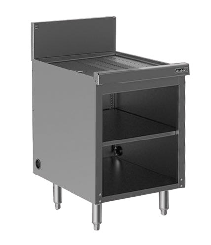 Perlick SC18 18-in Storage Cabinet w/ Open Base, Drainboard, Stainless