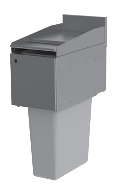Perlick TS12TRA Trash Receptacle w/ Hinged Drop Lid, 23 gal Capacity, Stainless
