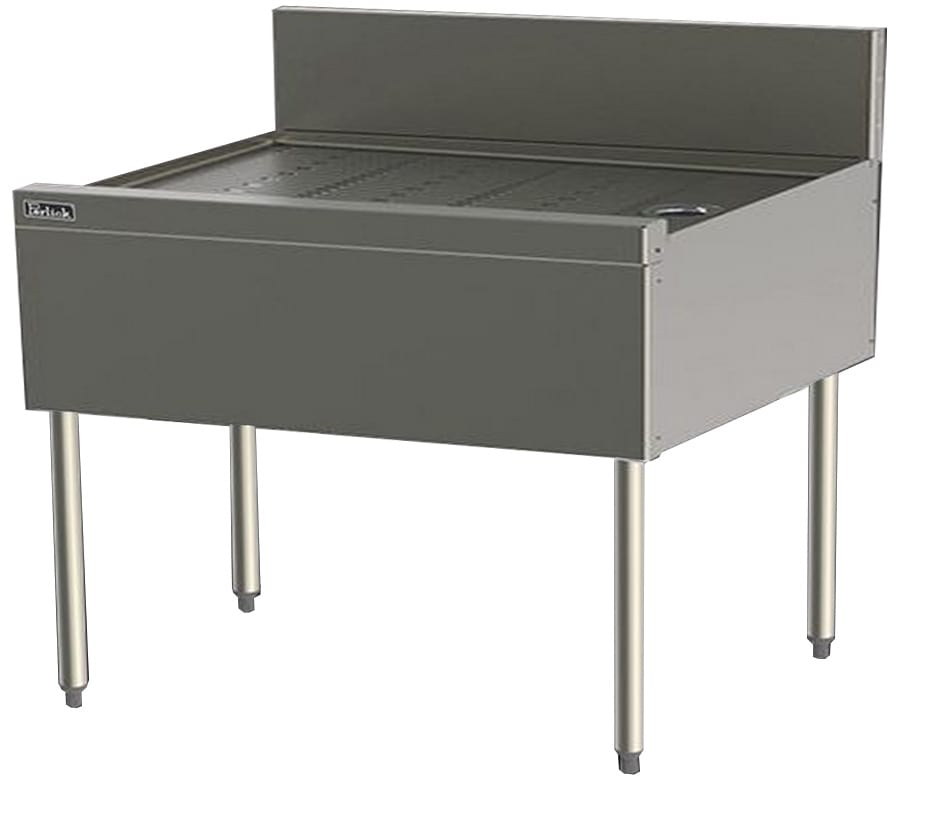 Perlick TS48 48-in Underbar Drainboard w/ Embossed Top & Backsplash, Stainless