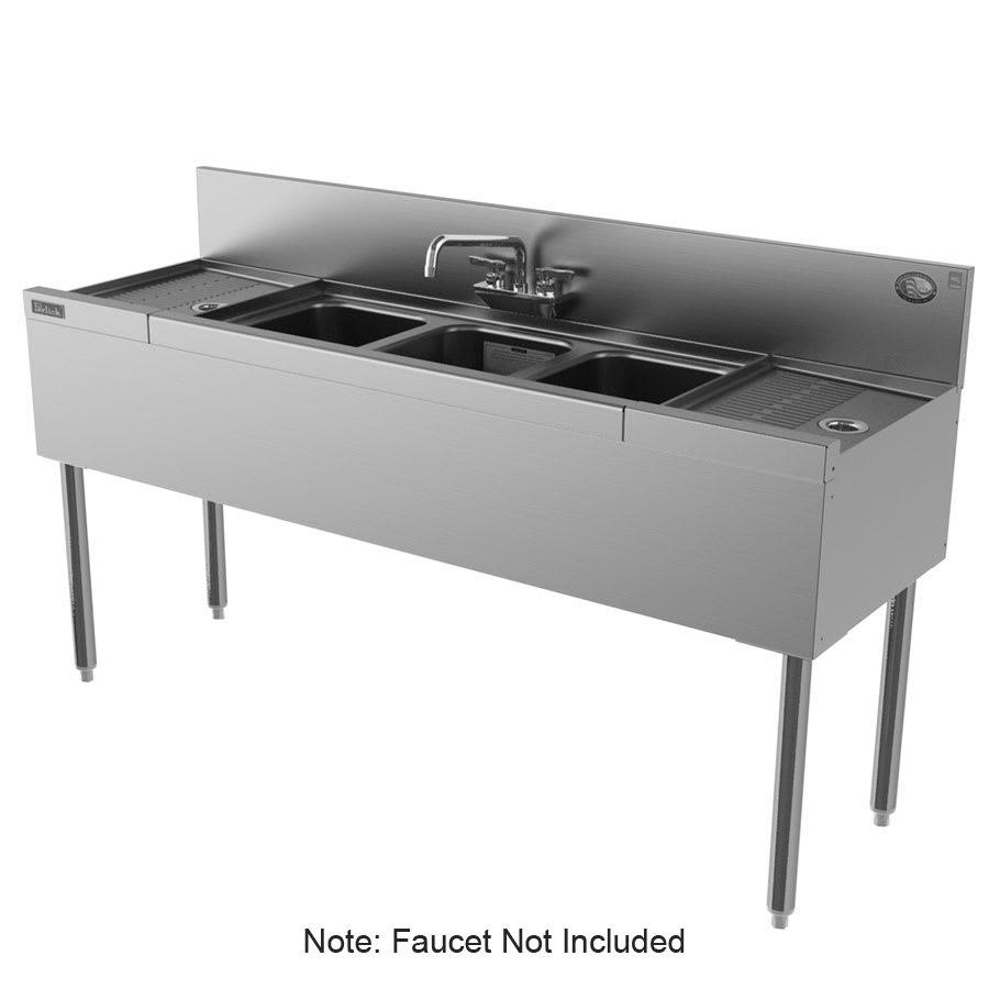 """Perlick TS53C-STK 60"""" 3-Compartment Sink w/ 10""""L x 14""""W Bowl, 9"""" Deep"""