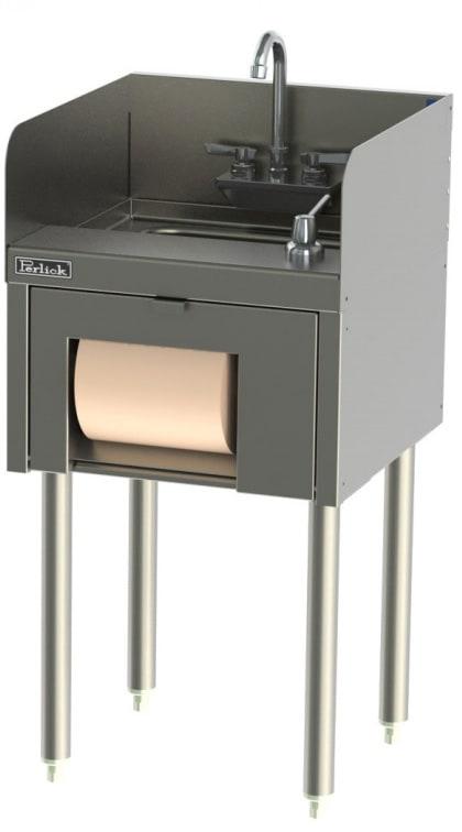 "Perlick TSD18HST Commercial Hand Sink w/ 10""L x 14""W x 9.25""D Bowl, Soap Dispenser"