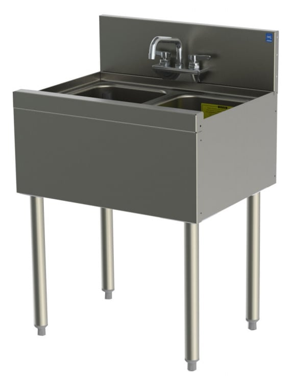 Perlick TSD22C 24-in Underbar Sink w/ 2-Compartment, Stainless
