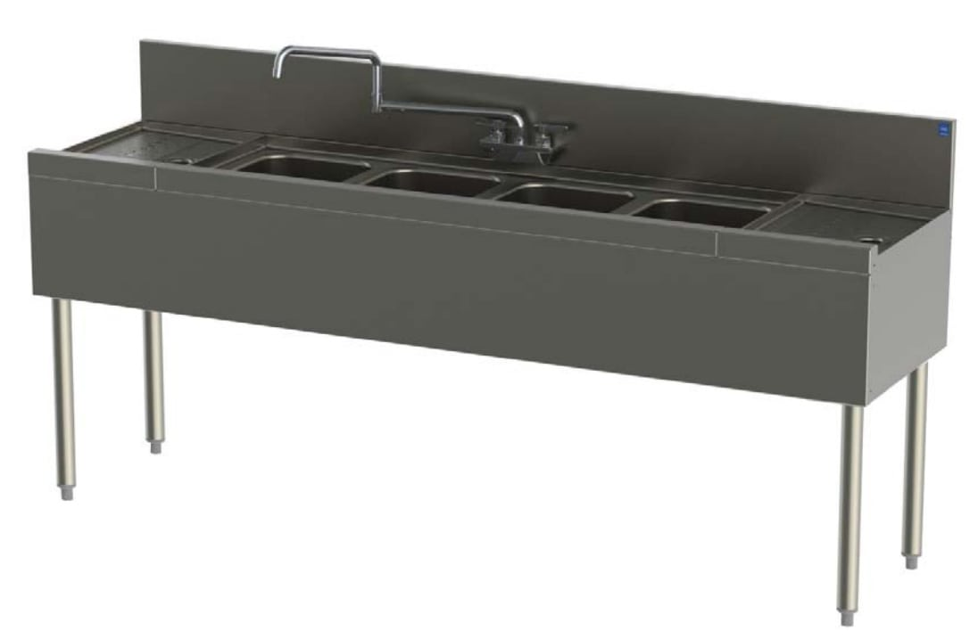 Perlick TSD64C 72-in Underbar 4-Compartment Sink Unit w/ (2) 12-in Drainboard