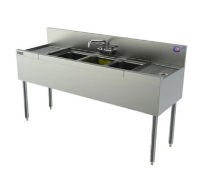 Perlick TSD83C 96-in Underbar 3-Compartment Sink Unit w/ (2) 30-in Drainboards