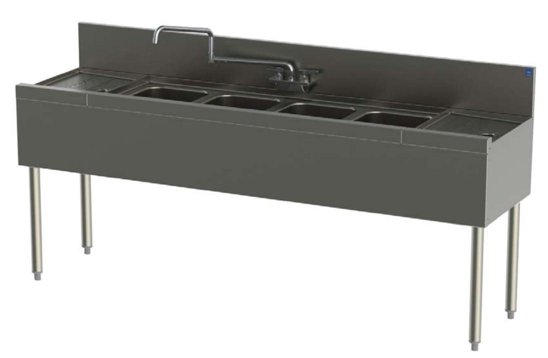 Perlick TSD94C 108-in Underbar 4-Compartment Sink Unit w/ (2) 30-in Drainboards