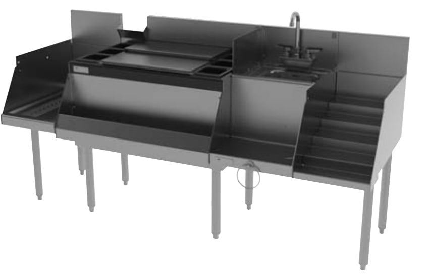 "Perlick UCS72A 72"" Cocktail Station: Ice Chest, 12"" Drainboard, 18"" Blender Station w/ Sink"