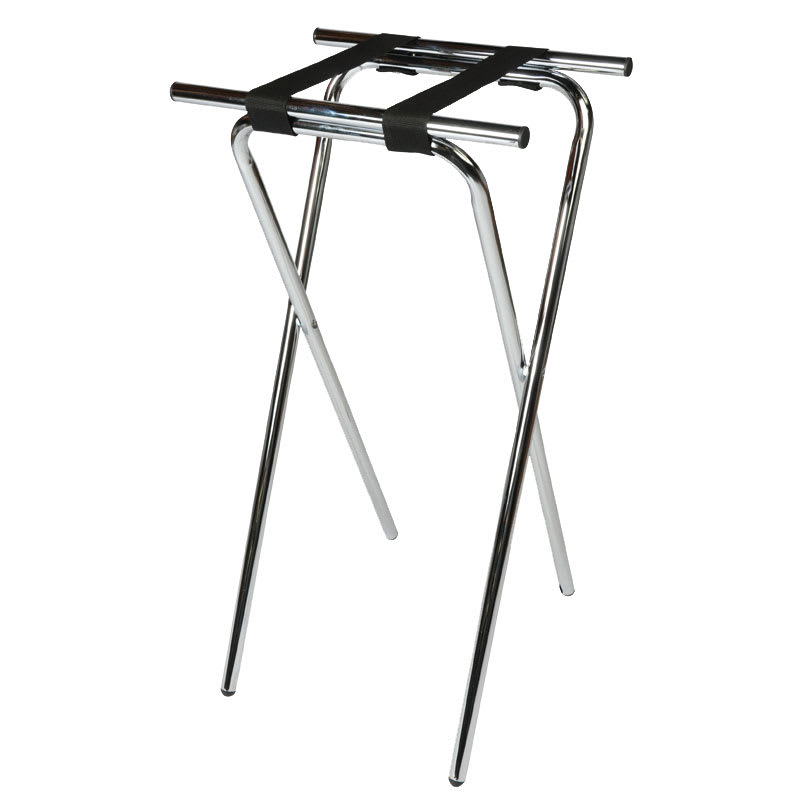 "CSL 1036 36"" Extra Tall Tray Stand, Black, Chrome Tubular Frame"