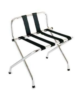 CSL 1055B-C-BL-1 Luggage Rack w/ Black Straps & Luxury High Back, Chrome