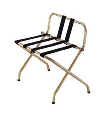CSL 1055B-I-BL-1 Luggage Rack w/ Black Straps & Luxury High Back, Antique Inca Gold