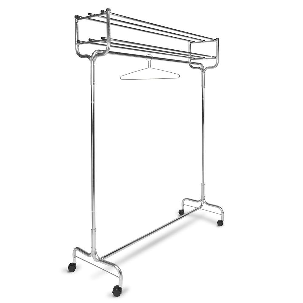 "CSL 1074-48P 48"" Portable Valet w/ Double Hat Rack, 12 Perma-Hangers, Chrome"
