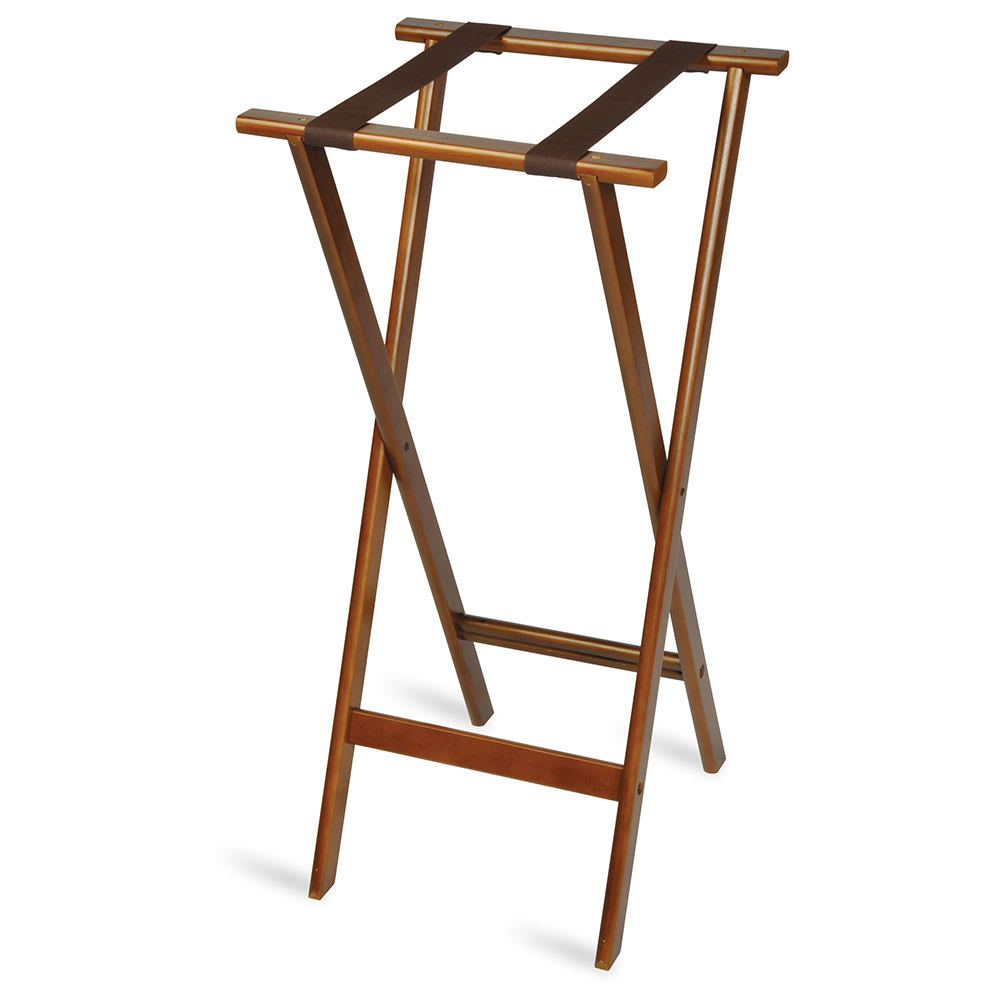"""CSL 1178 38"""" Flat Tray Stand w/ 2 Brown Straps & Rounded Edge, Hardwood"""