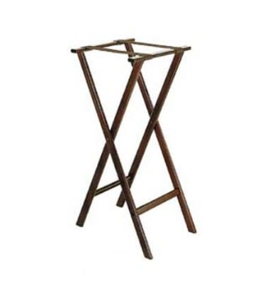 "CSL 1178-1 38"" Extra Tall Flat Tray Stand w/ Brown Straps, Mahogany"