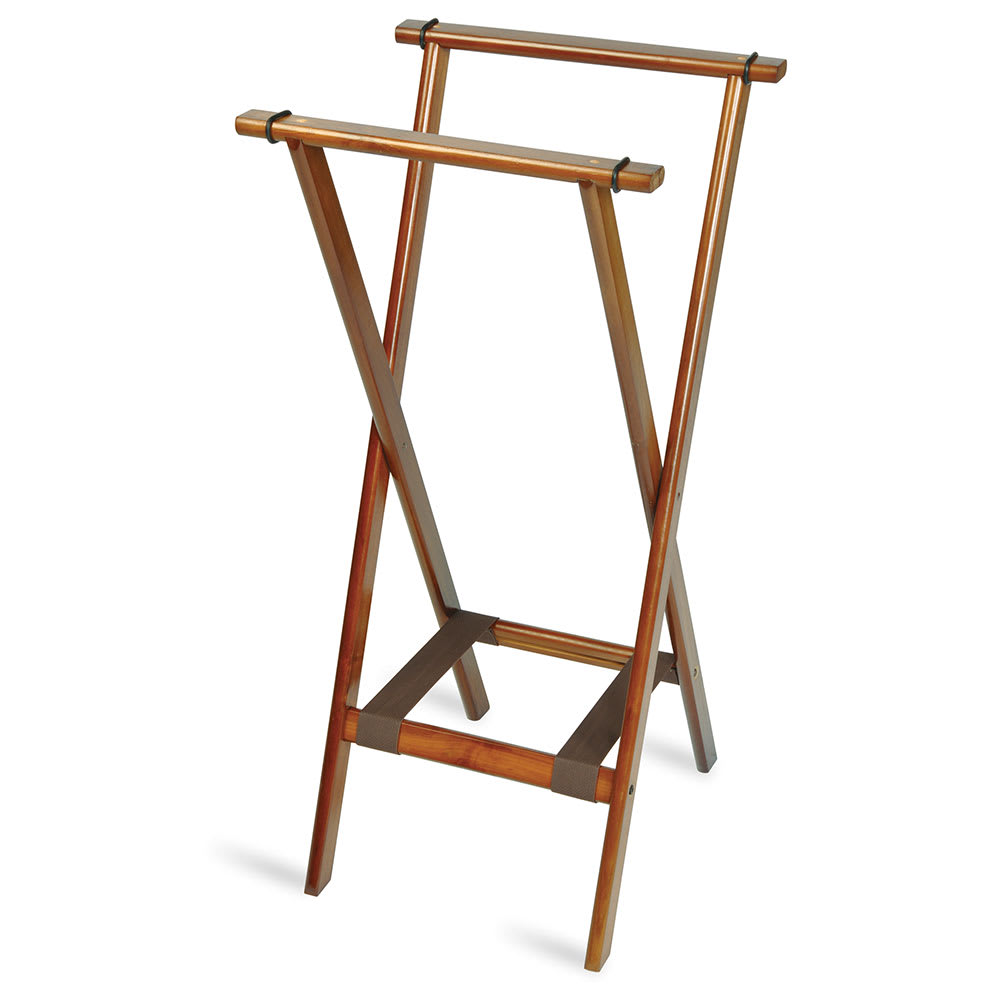 CSL 1178BSO-1 Wooden Tray Stand w/ Bottom Brown Strap, Extra Tall