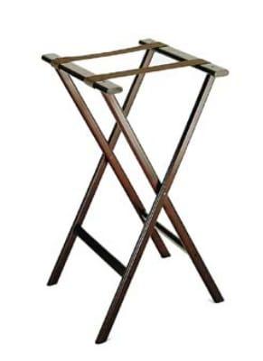 CSL 1270-1 Economy Tray Stand w/ Brown Straps, Wooden, Dark Walnut