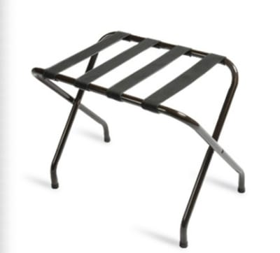 CSL 155BL-BL-1 Flat Top Luggage Rack w/ Black Straps, Black Tubular Frame