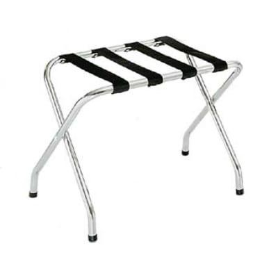 CSL 155C-BL-1 Luggage Rack w/ Black Straps, Flat Top, Chrome