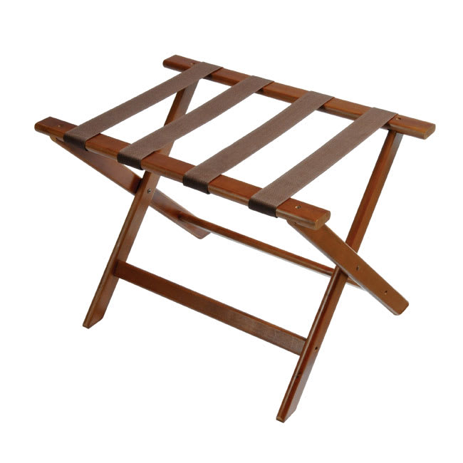 CSL 177DK-1 Luggage Rack w/ Brown Straps, Deluxe Wooden, Walnut
