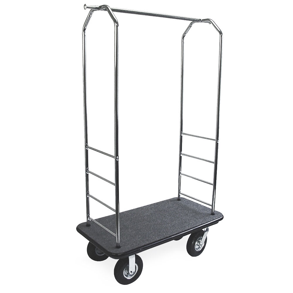 CSL 2000GY-020 BLK Upright Hotel Luggage Cart w/ Black Carpet, Stainless