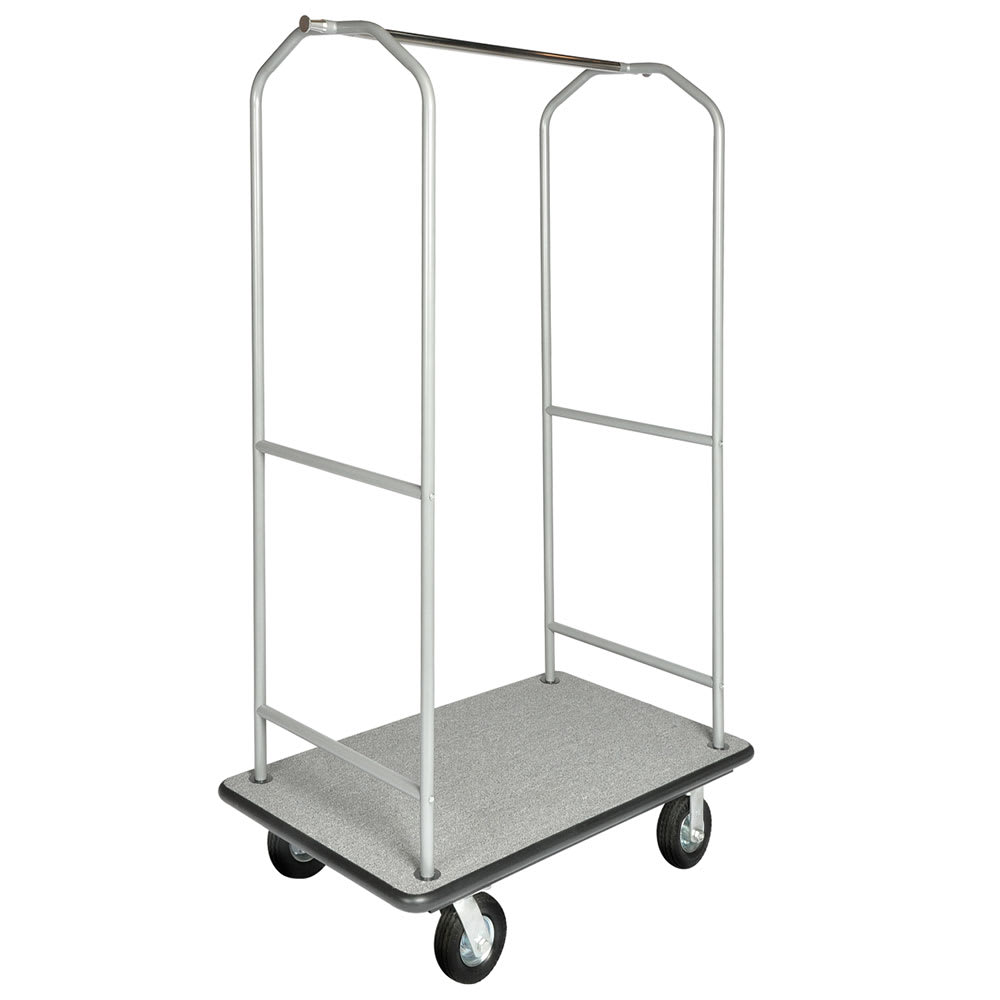 CSL 2005BK-060-GRY Upright Hotel Luggage Cart w/ Gray Carpet, Stainless