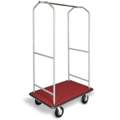 CSL 2005BK-060-RED Economy Bellman Cart w/ Red Carpet, Black Casters & Bumper, Silver Metallic