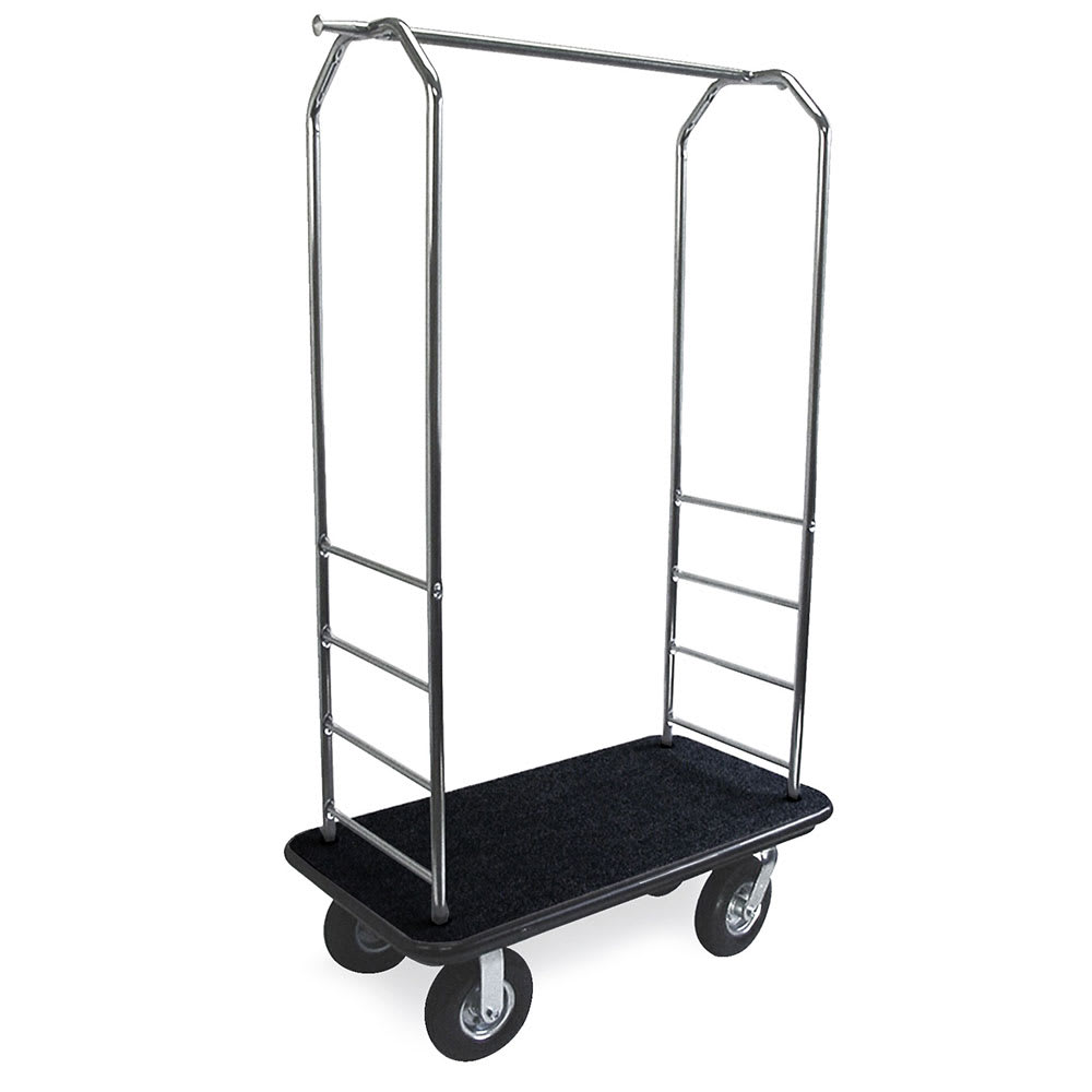 CSL 2099BK-010 Upright Hotel Luggage Cart w/ Black Carpet, Stainless