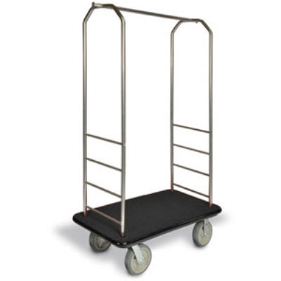 CSL 2099GY-040 Upright Hotel Luggage Cart w/ Black Carpet, Stainless