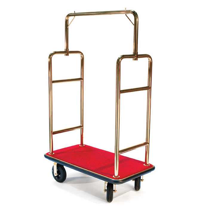 CSL 2533BK-030-RED Upright Hotel Luggage Cart w/ Red Carpet, Gold