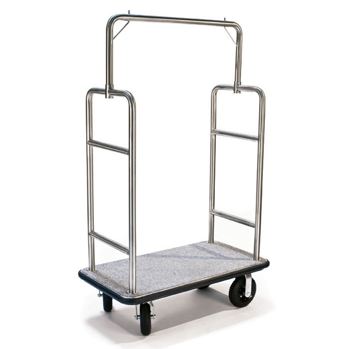 CSL 2599BK-010-GRY Upright Hotel Luggage Cart w/ Gray Carpet, Stainless