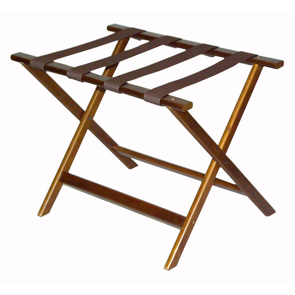 CSL 277DK-1 Economy Luggage Rack w/ Brown Straps, Wooden, Walnut