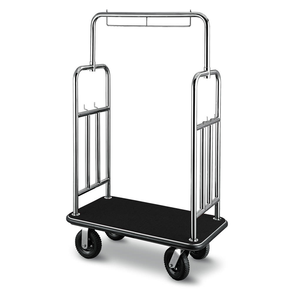 "CSL 2799BK-010-BLK Bellman Cart w/ Black Bumper - 24"" x 45.5"" x 71"", Black Carpet"